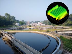 Wastewater treatment plant in Aachen-Soers and AFM image of the nanoantennas