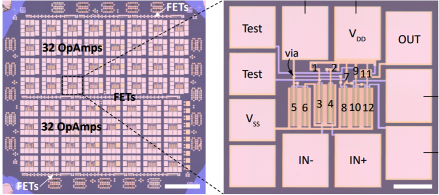Optical microscope image of the operational amplifier based on MoS2